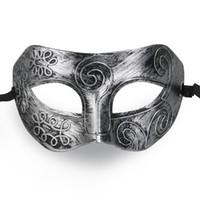 Wholesale- MUSEYA Cool Adult Men Greek Roman Fighter Masquerade Face Mask for Fancy Dress Ball / Masked Ball / Halloween (Silver)