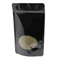 50 unids / lote negro / oro Stand Up Zip Lock bolsa de frijoles de almacenamiento puro paquete de papel de aluminio bolsas con plástico claro ventana redonda