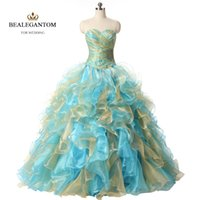 New Real Photo Sexy Mint Blue and Gold Quinceanera Dresses 2...