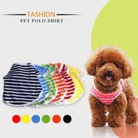 Pet Fashion Series Dog Summer Clothing Polo Knit Koszulki Paski Oddychające Dog Kostiumy 5 Rozmiary 6 Kolory Darmowa Wysyłka