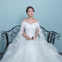 Nueva llegada de estilo coreano chal de encaje con cuello en V hueco trasero de grasa mujeres vestidos cubren los brazos vestido de novia nupcial