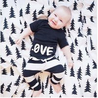 New Baby Boy Clothes Short Sleeve Black Tees Sriped Harem Pa...