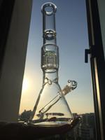 Lo nuevo vaso de vidrio grande Bong con bongs de vidrio brazo árbol PERC difundidos aceite downstem Plataformas tubería de agua de vidrio con 14 mm conjunta