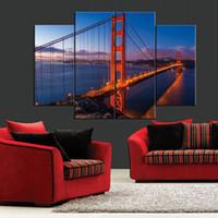 Golden Gate Bridge nel tramonto nuvole Frameless dipinti 4 pezzi (senza cornice) Printd on Canvas Home Wall Art HD stampa pittura
