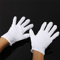 24 unids = 12 pares Guantes de algodón blanco Serving / Waiters Gloves Concierge Butler Snooker Guantes ecuestres
