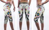 Jambières de compression de yoga dames Funny Floral Skull Fitness pantalons de capri Collants de danse taille haute blanc Slim Running 3/4 pantalon