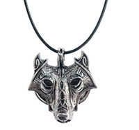 10pcs 42+ 5cm Vintage Norse Vikings Wolf Necklace Faux Leathe...