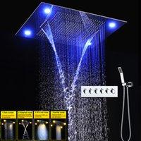 Set doccia Bagno rubinetto miscelatore con LED a soffitto Soffione doccia 600 * 800mm 4 funzione di precipitazioni cascata foschia tenda della doccia condotto la testa insieme