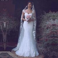 Белое Кружево Русалка Свадебные Платья 2017 Sheer Тюль Cap Рукавом Аппликация Оборудованная Корсет Свадебные Платья Элегантный Платье Невесты На Заказ