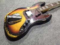 Handmade 4 corde Vintage Sunburst in 3 colori Relic chitarra elettrica F Pickup Cover, Red Tortoiseshell Pickguard Tastiera in palissandro