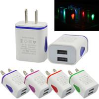 Light Up Water-LED LED Dual USB Porte Home Travel Power Adapter 5V 2.1A + 1A Caricatore da muro US EU Plug per Smart Phone, Tablet cellulare