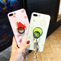 For iphone 7 case TPU painting cartoon Watermelon Lemon Soft...