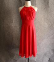 Vestidos de coctel rojos hechos a mano de alta calidad simples nuevos cremallera espalda cabestro longitud de la rodilla vestidos formales del partido más vestidos de noche del partido del tamaño