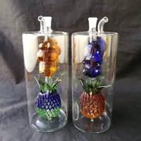 Grandi ganci per acqua in vetro ananas Accessori per bong in vetro, tubi colorati per fumatori Tubi in vetro curvo Tubi per bruciatori di olio Tubi per acqua Dab Rig G