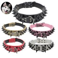 5cm breit kühle scharfe Spike Studded Leder Hundehalsbänder 38-60cm für mittlere große Rassen Pitbull Mastiff Boxer Bully 4 Größen