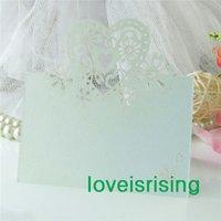 Vente en gros - 50pcs / lot Couleur blanche Laser Cut Place Place Cartes de noms de mariage pour la décoration de table de fête