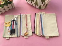 20Pcs lot 20*14cm Mix zipper Pure white cotton canvas cosmet...