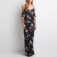 Kapalı Omuz V Yaka Yaz Elbise Moda Kolsuz Şifon Kadınlar Maxi Elbise Retro Çiçek Baskı Akşam Uzun Parti Elbise