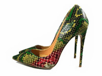 Green high heel shoes 2017 Snake Printing women shoes pumps ...