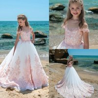 2018 Vintage Blush Pink Lace Sheer Neck Flower Girl Vestidos Cap Sleeves Appliques Tulle Wedding Party Dresses Girls Pageant Dress For Teens