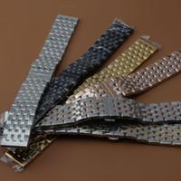 Atacado Assistir Banda Polido Homens 20mm 22mm Preto de Prata de Aço Inoxidável Pulseira de Relógio pulseira para o relógio do esporte de luxo promoção Moda Quente