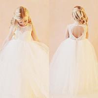 Vestidos de niña de flores de la vendimia Vestidos de novia Longitud del cordón Blanco Organza Flowergirl vestidos para boda LYF10