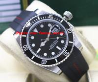 최고 품질 럭셔리 손목 시계 116610 망 고무 팔찌 블랙 세라믹 베젤 블랙 다이얼 40MM 자동 기계 남자 시계 새로운 도착