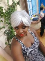Xiu Zhi Mei signore parrucca bianca resistente al calore parrucche sintetiche corte trucco parrucche parrucche naturali economici parrucche corte per le donne nere