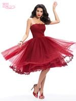 Jahrgang 1950 Tee Länge Burgund Prom Kleider Günstige Spitze Appliques Plissee Maßgeschneiderte Frauen Formale Cocktail Party Kleid 2016
