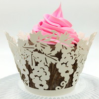wedding favors grape Laser cut Lace Cream Cup Cake Wrapper C...