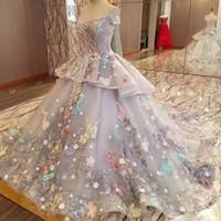 Oriente Medio princesa caramelo de la boda vestido rebordear del hombro de la flor colorida Apliques vestidos de boda vestido de novia gris Fairy más nuevo