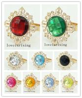 22 색상 선택 - 10pcs 아름다운 스파클링 클리어 원석 골드 도금 냅킨 링 결혼식 피로연 파티 테이블 장식 용품