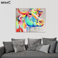 Bull colorato 100% a mano pittura a olio pittura a olio vernice acrilica su tela cartoon cartoon wall art moderno decorazione della casa astratta