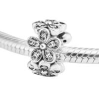 Ослепительно ромашки распорка ясно CZ 2017 весна 100% стерлингового серебра 925 бусины Fit Pandora подвески браслет аутентичные DIY ювелирные изделия