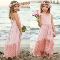 New Girls Dress Kids Dust Rose Long Maxi Coton Volants Tulle Robe De Soirée Boutique Vêtements Pour Bébé