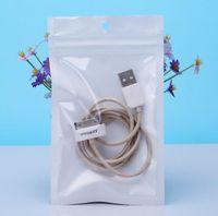 Pequeno 8 * 13 centímetros Branco / Clear Auto Seal Zipper plástico Retail empacotar Bag, Zipper Bloqueio Bag com furo jeito