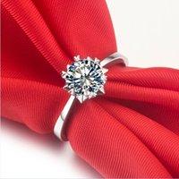 Partihandel Smycken 0,5ct Snowflake NSCD Simulerad diamant Ringar Solitaire Engagement 925 Silverring