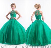 2020 mangas Halter desfile de vestidos de Rachel Allan Glitz vestido de princesa de cristal que rebordea el vestido verde de cumpleaños de los chicas Vestidos HY1145