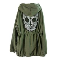New Hot! Women Back Skull Army Green Jacket Loose Hooded Coa...