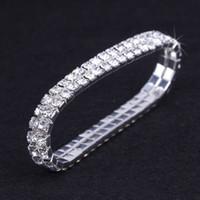 12 Stück Lot Hochzeit Brautschmuck Elastische Kristall Strass Stretch Silber Gold Armreif Großhandel Hochzeit Zubehör für Frauen