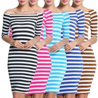 2017 Fashion New 4 colori Bodycon Elastico Dress ZSIIBO Donne Stripes Mezza manica Lunghezza al ginocchio Casual Off the Shoulder Abiti a matita LYQ57-F
