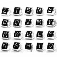 26st / lot mode emalj a till z bokstäver legering metall spacer pärlor för smycken gör DIY pärlor för armband grossist i bulk lågpris reb5