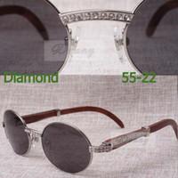 2019 novos diamante redondo Sunglasses 7.550.178 Madeira óculos de sol masculinos Tamanho: 55-22-135mm