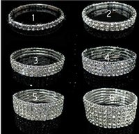 1 2 3 4 row Tennis Crystal bracelet Bridal jewelry rhineston...