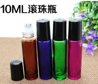 10 ml 1 / 3oz Grueso AMBER Azul Verde Rose Red Glass Roll On Bottle Aceite Esencial Empty Aromatherapy Roller Bottle 10-ml + Metal Roller Ball