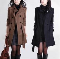 2016 Yeni Kadın Siper Yün Ceket Kış Ince Kruvaze Palto Kışlık Mont Uzun Giyim Kadınlar için QB323