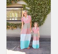 Summer New Bohemia Family Dress Madre e figlia Holiday Beach Abiti Cotton Mum Girl Dress a righe manica corta A6776