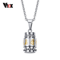 Vente en gros - Vnox Cool Rotatable Mantra Colliers Pendentifs Stainless Steel Prayer Collier Men Jewelry Free Chain 20
