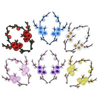 6 Pair Plum Blossom Embroidered Patches for Clothing Coat Ir...