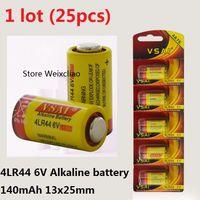 25pcs 1 Los 4LR44 476A 4A76 A544 V4034PX PX28A L1325 6V trocken alkalische Batterie 6 Volt Batterien Karte VSAI Kostenloser Versand